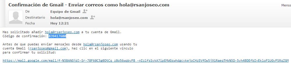 Anote o copie en el portapapeles el código de confirmación, o bien, pulse directamente en el enlace de confirmación.