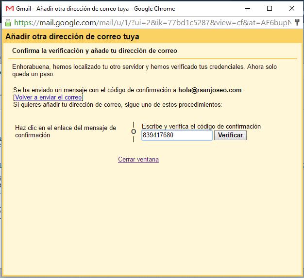 Escriba el código de confirmación y pulse en verficar. Si no ha recibido el correo puede solicitarlo de nuevo pulsando en Volver a enviar el correo